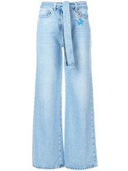 Twin Set Wide Legged Belted Jeans Lyocell Cotton Polyester Blue