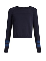 Lndr Ace Cropped Wool Blend Performance Sweater Navy