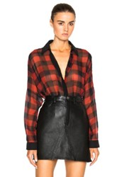 Barbara Bui Georgette Check Top In Red Checkered And Plaid Red Checkered And Plaid