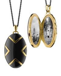 Monica Rich Kosann 18K Black Ceramic Oval X Locket 30 L Unassigned