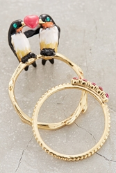Les Nereides Lovebird Ring Set Black Motif