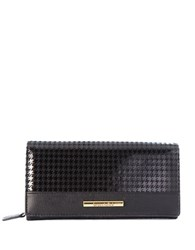 Braccialini Linda Continental Suede And Saffiano Leather Wallet Black Black
