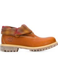 Timberland Plaid Lined Boots Brown