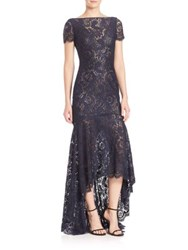 Theia Sleeveless High Low Lace Gown Navy