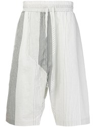 Lost And Found Ria Dunn Striped Drawstring Shorts Silk Cotton White
