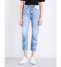 Ksubi Marbled Boyfriend High Rise Jeans Blue Marble