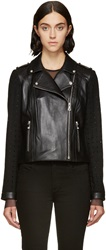Versus Black Wool And Leather Biker Jacket