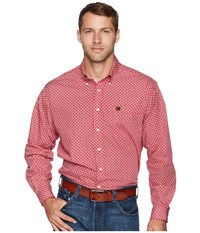 Cinch Long Sleeve Plain Weave Print Red 3 Long Sleeve Button Up