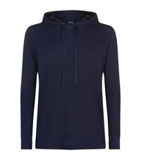 Ralph Lauren Purple Label Waffle Knit Lounge Hoodie Navy