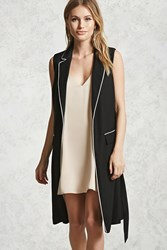 Forever 21 Contrast Piped Longline Vest