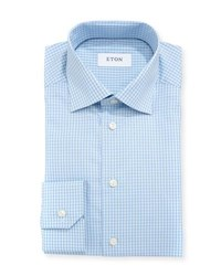 Eton Woven Gingham Dress Shirt Blue