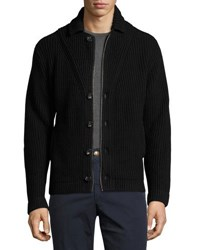 Luciano Barbera Button Front Ribbed Sweater Black