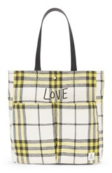 Ed Ellen Degeneres Paz Woven Tote Yellow Limon Plaid