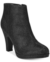 Rampage Baebi Platform Booties Women's Shoes Black Sparkle Mesh