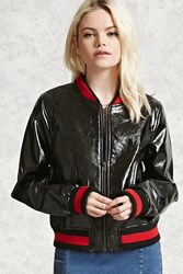 Forever 21 Patent Bomber Jacket Black Red