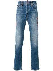 Philipp Plein Flame Straight Leg Jeans Blue