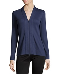 Lafayette 148 New York Ribbed V Neck Zip Front Cardigan Navy