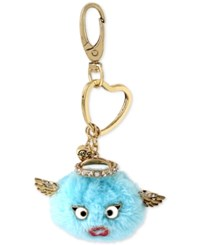 Betsey Johnson Gold Tone Blue Angel Furry Keychain
