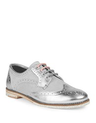 Ted Baker Anoihe Metallic Leather Wingtip Oxfords Silver