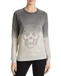 Aqua Studded Skull Sweatshirt Heather Gray