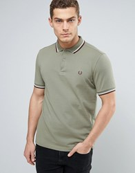 Fred Perry Slim Pique Polo Shirt Two Tone Tipped In Olive Olive Green