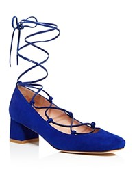 Stuart Weitzman Cordon Mid Heel Lace Up Pumps Electric Blue