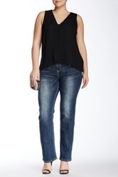 Grace In La Denim Embellished Straight Leg Jean Plus Size Blue