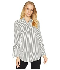 Bishop Young Stripe Tie Sleeve Blouse Black Stripe Long Sleeve Pullover