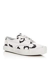 Alexander Wang Perry Leopard Print Lace Up Sneakers Black White