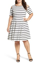 Gabby Skye Plus Size Women's Cold Shoulder Fit And Flare Dress
