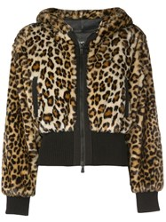 Boutique Moschino Cropped Leopard Print Jacket Brown