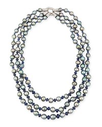Three Strand Tahitian Pearl And Sapphire Necklace With Diamonds Assael