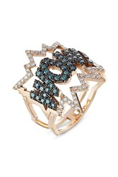 Diane Kordas Wow 18Kt Rose Gold Ring With Diamonds Multicolor