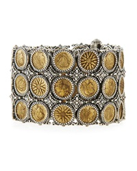 Silver And Bronze Wide Coin Bracelet Konstantino