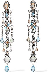 Lanvin Ginger Silver Plated Crystal Clip Earrings