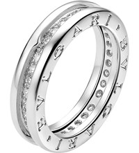 Bulgari B.Zero1 18Ct White Gold And Pave Diamond Ring