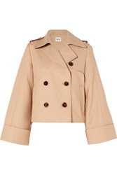Khaite Bianca Double Breasted Cotton Twill Jacket Beige