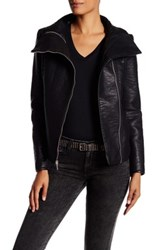 French Connection Textured Faux Leather Moto Jacket Black