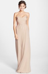 Women's Amsale Strapless Crinkle Chiffon Gown Fawn
