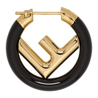 Black And Gold Mini 'F Is Fendi' Hoop Earring