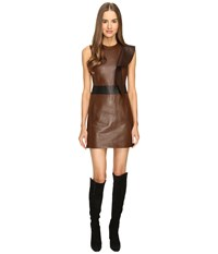 Neil Barrett Leather Slim Fit Dress Brown