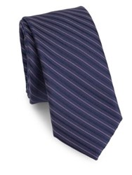Saks Fifth Avenue Modern Diagonal Stripes Silk Tie Purple Grey