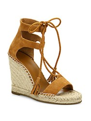 Joie Delilah Lace Up Suede Espadrille Wedge Sandals Persimmon