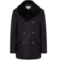 Private White V.C. Manchester Shearling Trimmed Wool Peacoat Navy