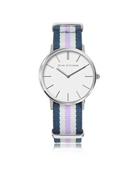 Sean Statham Stainless Steel Unisex Quartz Watch W Blue And Violet Striped Canvas Band