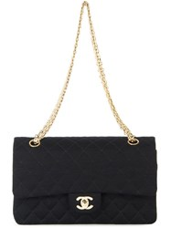 Chanel Vintage Quilted Double Flap Chain Shoulder Bag Black