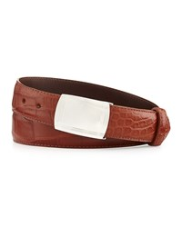W.Kleinberg Matte Alligator Belt With Plaque Buckle Cognac Made To Order Red