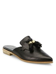 Stuart Weitzman Slidealong Tasseled Leather Mules Black