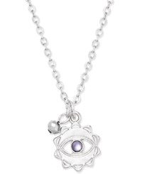 Macy's Silver Tone Evil Eye And Charm Pendant Necklace