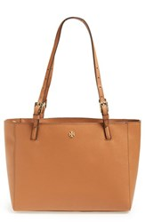 Tory Burch 'Small York' Saffiano Leather Buckle Tote Brown Luggage